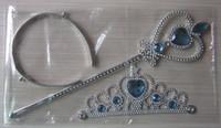 Wholesale Hot Sale Frozen Blue diamond Anna Elsa cosplay Crown Tiaras Children Party Accessories Magic Wand sticks Rhinestone Crown