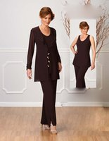 ankle strap pants - Fashional Mother s Pants Suit With Jacket Jewel Long Sleeve Formal Dress Ankle Length Chiffon Mother Of The Bride