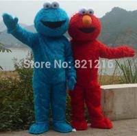 Wholesale Sesame Street Elmo rouge bleu Cookie Monster Costume de mascot de carnaval des animaux livraison gratuite