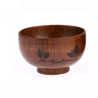 Wholesale Natural Jujube Wooden Bowl Handwork Butterfly Carved Pattern for Soup Rice Miso LB