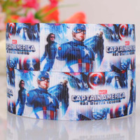 ribbons - 1 quot mm captain American printed Grosgrain ribbon Polyester sport Ribbon DIY haribow