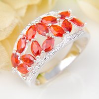 Cheap 5 Pieces 1 lot Lucky Shine Full Stones Ring Shiny Brazil Citrine Crystal 925 Sterling Silver Rings Russia American Australia Wedding Rings
