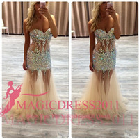 rhinestone see through dress - Sparkly Champagne Prom Dresses See Through Long Formal Evening Gowns Occasion Dress Mermaid Sweetheart Rhinestone Party Celebrity