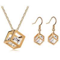 acrylic water kit - Cube Water Cube delicate ear pure copper inlaid zircon pendant necklace jewelry box kit box Zircon Set