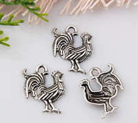 antique rooster - Hot Antique Silver Single sided design nice rooster Charm pendants DIY Jewelry x mm mm11