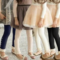 brand trousers - 2015 Spring Cotton Tights Leggings Kids Girl Pearls Lace Stetchy Pants Children s trousers
