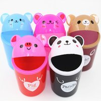 Wholesale Creative fashion mini desktop trash cute cartoon animals flip desktop tools Household Cleaning Tools Accessories Waste Bins