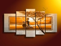 africa trees - High Quality Yellow Africa Women Tree Oil Painting On Canvas Set Home Wall Art Decoration Modern Picture For Living Room