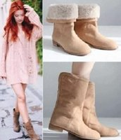 Wholesale All match Lady Snow Boots Brown Color Low Heel Combat Boots A7