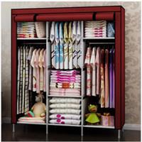 Wholesale New Portable Folding Clothes Closet Wardrobe Armoires Storage Rack Garment Cabinet Hot