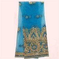 Precio de Cielo azul de la tela de lentejuelas-La mayoría de la ropa de moda material cielo azul con bordados francés tela de encaje de tul con lentejuelas tela de encaje neto africano JNZ22-9