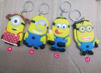 Wholesale 2014 Cartoon Dispicable me Keychain Key Chain Ring D Pattern keyrings Key Fob Car Keychain Children Christmas gift Children toy