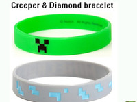 jelly bracelets - Boy Girl Kids Fashion Silicone Bracelets minecraft bracelet MC bracelet Minecraft wristband Without Official Tag in stock