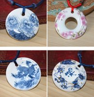 art ceramic - Fashion Jewelry White And Blue Porcelain Ceramic Necklace For Women Floral Chinese Art Handmade Ethnic Necklace Jade Necklace Pendant gifts