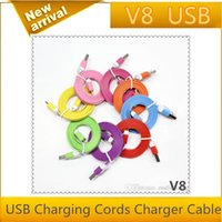 Wholesale cheap M Micro Noodle Flat Data S7 S6 USB Charging Cords Charger Cable Line for Samsung Android Phone
