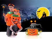 Wholesale Halloween children adult pumpkins garment hat bag boy girl Masquerade costumes Performing clothing sets Christmas Special Occasions cosplay