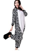 adult zebra costumes - sexy DearLover Winter Homewear Zebra Flannel Fleece Pajamas Unisex Sleepwear Adult Cartoon Nightgown Robe Animal Onesies LC8916 FG1511