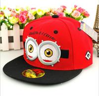 Wholesale Baseball cap Hip hop dance hats for kids Kids boy Hip hop Adjustable hat Baby Minions sunshading cap