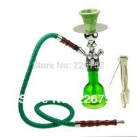 antique smoking set - Hot Selling Trendy Antique Design Glass Tobacco Pipe Ceramic Water Smoking Pipes Shisha Hookah Set Green Silver
