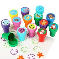 animal ink stamps - Kids Cartoon Stamps Animal Dinosaur Christmas Ocean Smile Face Self Ink Stampers Children Drawing Learning Educational Toys