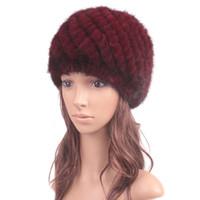Pineapples - Winter mink fur hat for genuine natural fur Pineapple cap Russian beanies hat New Genuine Knitted Mink Fur Hat