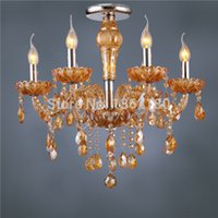 Cheap Brand new crystal ceiling light 6 light Amber for living room bed room free shipping