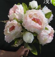 Wholesale 7pcs cm quot peony Bridal Bouquet Wedding Party Table Centerpiece Home Decoration Silk Artificial Flower Heads Wedding decoration