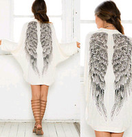 angels top cap - 2015 Fashion Women s Casual Long Sleeve Angel Wings Prints Coat Cardigan Jacket Tops