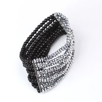 strands of glass beads - Newest Black White Beaded Bracelet Exquisite Glass Crystal Glass Bead Hand Chain Of Beads Bracelet For Women