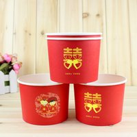 bamboo disposable bowls - Wedding supplies disposable red bowl red thickening paper bowl hi bowl personalized cartoon wedding supplies order lt no track