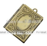 antique brass picture frame - Brass Locket Pendants Picture Frame Charms for Necklace Antique Bronze Rectangle about mm wide mm long