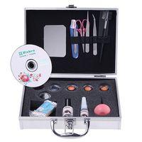 Cheap New Professional Eyelashes Extension Kit False EyeLash Lashes Makeup Set with Silver Box Case Salon Tool
