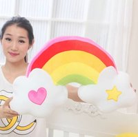 Wholesale Colorful Pillow Plush Toys Heart Angel Rainbow Cushion Holding Pillow Creative Gift Wedding Gift Valentine s Day Gift YZT0137