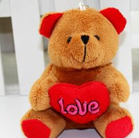 Wholesale New cm little love heart teddy bear cute plush peadant valentine s day bouquet peadant deep brown pink light brown white