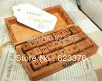 alphabet rubber stamp set - DHL Sets set Creative Lowercase Uppercase Alphabet wood rubber stamps set Wooden box