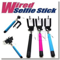 Wholesale Extendable Handheld Professional Selfie Stick Monopod for IOS and Android Smartphones Z07 S Cable take pole Selfie Remote Shutter