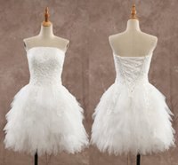 Wholesale Cheap Sexy Mini Wedding Dresses - 2016 Short Wedding Dresses Cheap Appliques Knee Length Strapless Backless Little White Dress Spring Summer StyleTulle Ruffles Wedding Gowns
