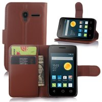 alcatel ot - Litchi Wallet Flip PU Leather Case With Credit Card Slots Stand Holder For Alcatel One Touch Pop inch OT5042 X OT
