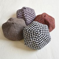 Wholesale toris foreign trade single thin wool houndstooth plaid Korean vintage European and American art painter hexagonal pumpkin beret
