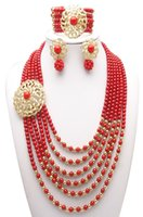Wholesale Nigerian African Wedding Beads Jewelry Set Red Coral Beads Jewelry Set Necklace Bracelet and Clip Earrings