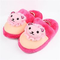 Wholesale 2014 Newest Children Cotton Slippers Cartoon Hot Pink Bear Head Kids Slippers Baby Shoes Footwear Warm House Slippers Bedroom