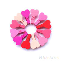 wooden hearts - 12Pc BAG Mini Heart Love Wooden Clothes Photo Paper Peg Pin Clothespin Craft Clips P