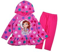 Cheap 2015 Winter Sofia The First Girls Clothing Fleece Polka Dot Pullover Hoodie coat + Leggings Clothes Sets 6set lot