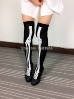 Wholesale Pairs Halloween Knee High Long Socks Skeleton Tattoo Socks Cosplay Monster Geek Women Long Socks Over Knee Sexy FG1510
