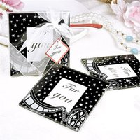 motion pictures - Creative Square Motion Picture Film Glass Coaster cup mat pads gift box Ribbon wedding favors baby shower gift