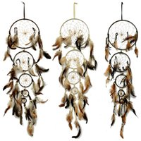 Wholesale Handmade Indian Style Dream Catcher Circular Net With Feathers Wall Bedroom Hanging Decoration Home Shops Ornament