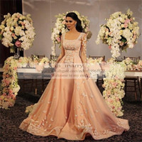 Wholesale Islamic Arabic Evening Dresses Square Long Sleeves Prom Dresses By Zuhair Murad Formal Dresses Evening Wear Appliques Lace Party Gowns