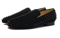 mens designer shoes - New Fashion Mens Black Spikes with Black Matter Leather Red Bottom Oxfords Designer Brand Loafers Business Wedding Dress Shoes