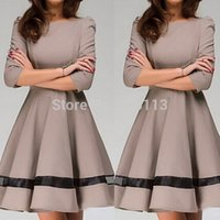 Wholesale New Arrival Autumn New Women Ladies Fashion Dress Solid Color Round Neck Pleated Dress Long Sleeve Slim Fit Work Wear