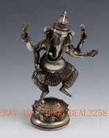 animal symbols buddhism - Oriental Vintage art symbol Tibetan silver Hand Carved ware four arm elephant